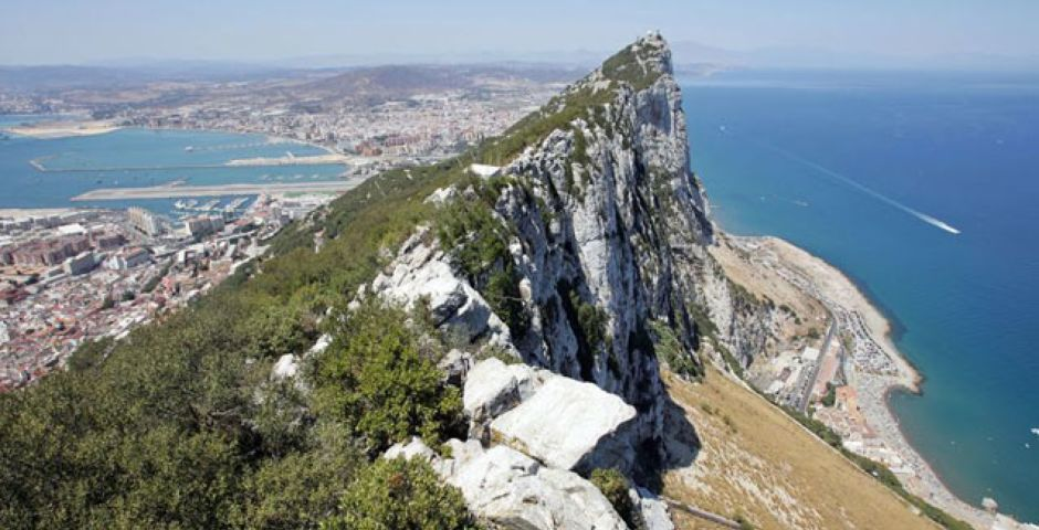 A View Of A Rocky Mountain With Rock Of Gibraltar In The Background